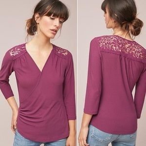 Anthropologie Maeve Marywood Lace Faux Wrap Top